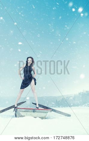 romance attractive fashion girl winter weather and snow scene