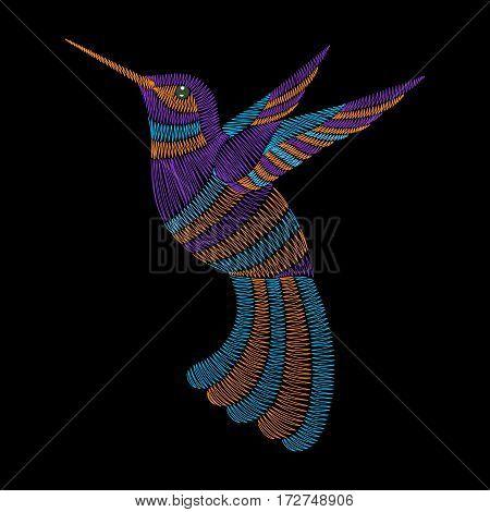Embroidery hummingbird, exotic tropical bird. Vector fashion ornamental print for textile, fabric traditional folk decoration.