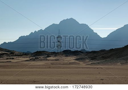 Electricity tower in desert on the Red sea governorate Egypt. Africa