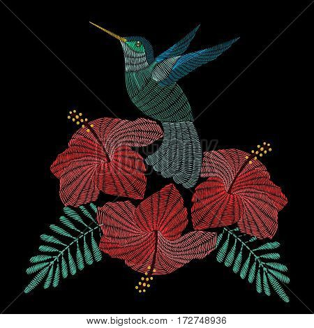 Embroidery hummingbird with hibiskus flowers. Vector fashion ornamental print for  fabric traditional folk decoration.