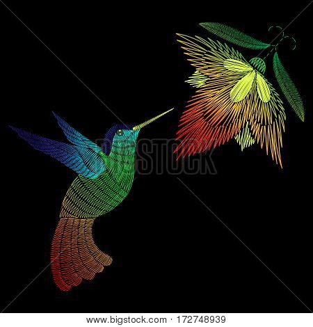 Embroidery hummingbird, exotic tropical bird with flower. Vector fashion ornamental print on black background for textile, fabric traditional folk decoration.