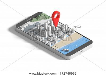Isometric view low poly smartphone with city map application and marker pin pointer, GPS navigation concept. 3D illustration