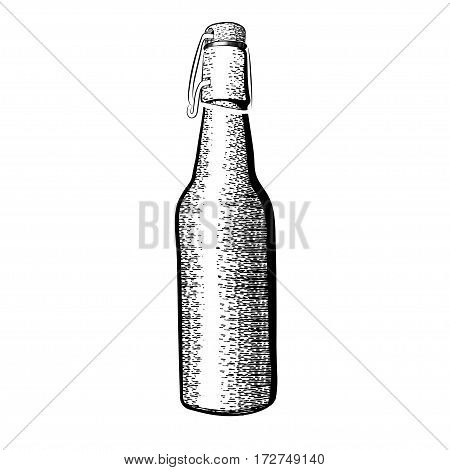 vector black and white illustrations half-liter bottles of beer in the style of a sketch on a white background