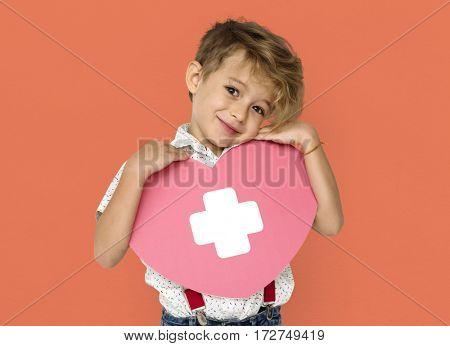 Little Boy Holding Paper craft Heart