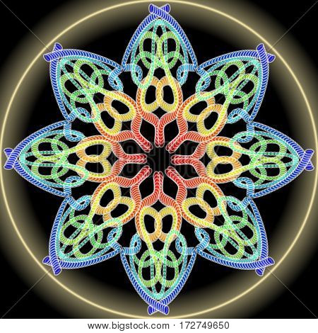 Rainbow mandala composed from multicolored dots golden aura. Symmetric ornament for spiritual exercises and meditation.
