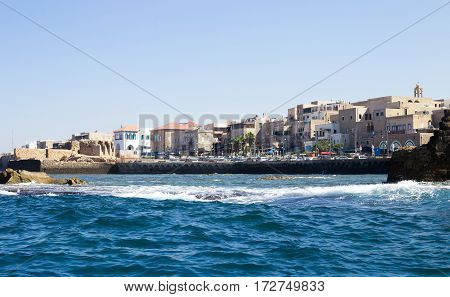 View of the Acre Street from the sea side in a sunny summer day.