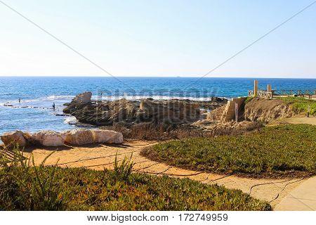 National park Caesarea on the Mediterranean Israel. Fragments of ancient Roman villa