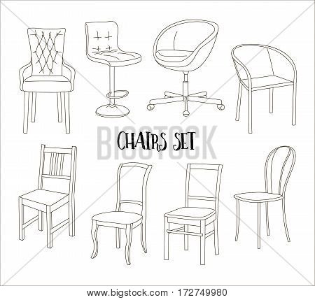 Set of armchairs and chairs and tables set. Architecture interior design home and office furniture. Isolated on white, vector