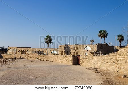 Caesarea archaeological park Israel. Sunny day and nobody around