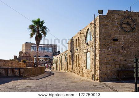 CAESAREA ISRAEL - CIRCA SEP 2016:National park Caesarea on the coast of Mediterranean sea Israel. Tourists walking through the streets