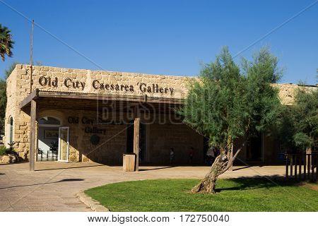 CAESAREA ISRAEL - CIRCA SEP 2016: Building of Old City Caesarea Gallery. National park Caesarea on the coast of Mediterranean sea Israel