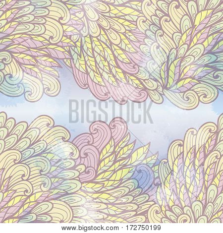 Hand drawn seamless violet and yellow invitation card design with swirls