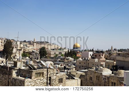 View of the old city of Jerusalem Israel. Dome of the mosque on the background. Holy place