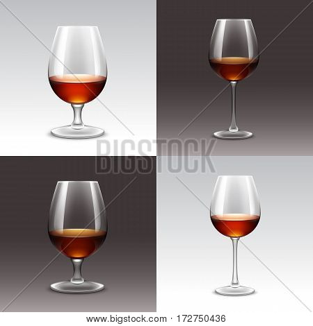 Vector Set of Wine Glasses Isolated on Background