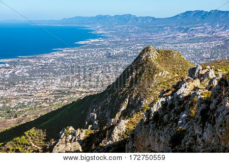 View of the north coast from the ruins of St Hilarion Castle. Kyrenia District Cyprus.