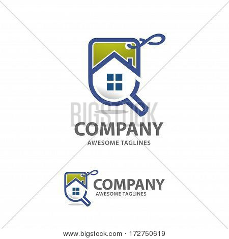 home sales logo vector, house search logo vector, searching for a house sale concepts. House with Magnifier. Icon for real estate renovation