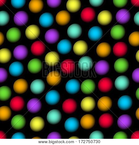 Abstract seamless background with blurry multicolored dots. Sharp contrasting patterns.