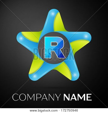Letter R vector logo symbol in the colorful star on black background. Vector template for your design