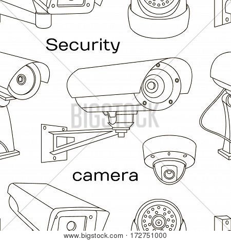 Security camera set pattern. Vector Illustration isolated on white background