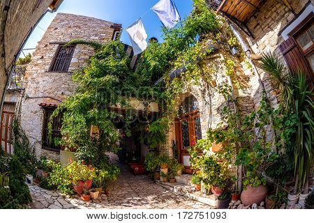 Colorful quiet backyard in the village of Lefkara. Larnaca District Cyprus.