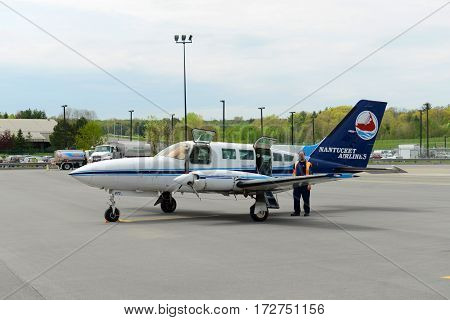ALBANY, NY, USA - MAY. 13, 2014: Nantucket Airlines Cessna 402C at Albany International Airport, New York State, USA.
