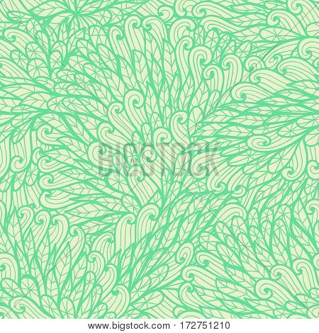 Seamless floral monochrome green and beige doodle pattern