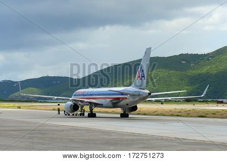 US VIRGIN ISLANDS - MAY. 29, 2014: American Airlines Boeing 757-223 at Cyril E. King Airport, US Virgin Islands, USA.