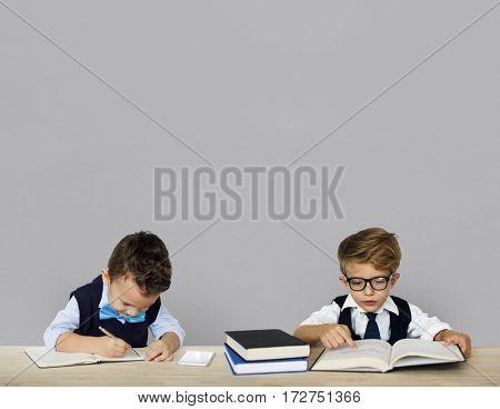 Little Children Posing Working Adult