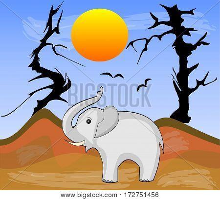 Elephant in Africa arid desert with dry trees vector illustration