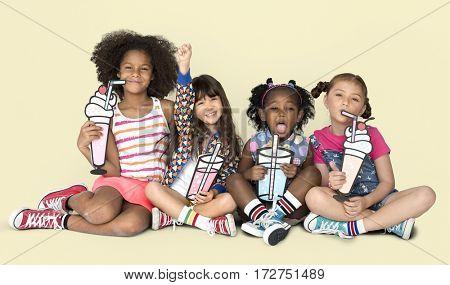Little Children Drinking Smoothies Beverage