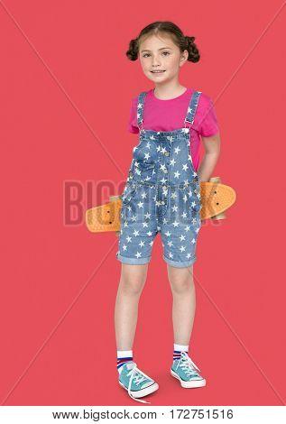 Little Girl Holding Skateboard Cute