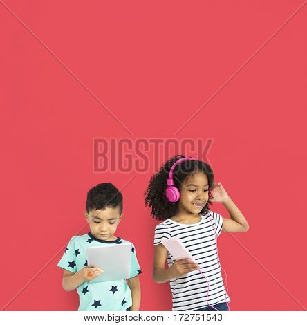 Little Boy and Girl Listen Music Entertainment Studio