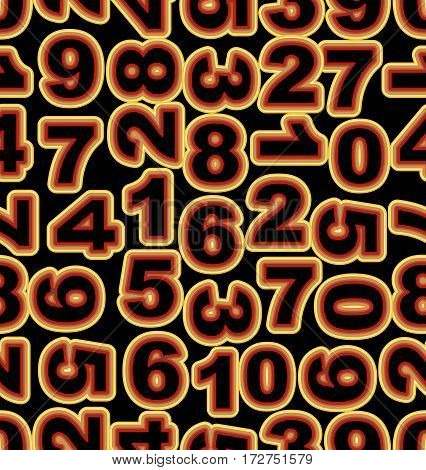 Neon number in yellow and red colors on black background. Seamless vector tile bold font cipher. Vector eps 10