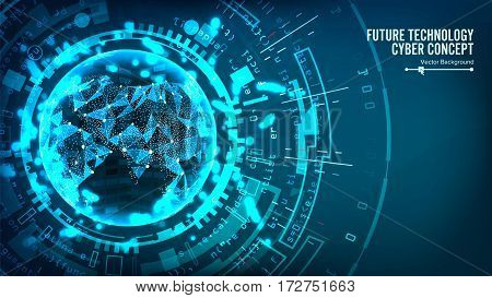 Futuristic Technology Connection Structure. Vector Abstract Background. Future Cyber Concept. Digital System