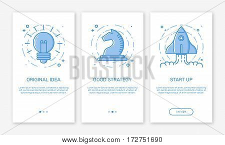Vector Illustration of onboarding app screens concept business start up application for mobile apps in line style. Modern blue interface UX, UI GUI screen template for smart phone or web site banners.