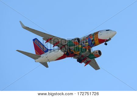 San Jose, CA, USA - March. 12, 2014: Southwest Airlines Boeing 737-700 with Florida One livery landing at San Jose International Airport, San Jose, California, USA.
