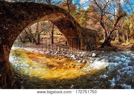 Kelefos Medieval Venetian stone bridge. Paphos District Cyprus.