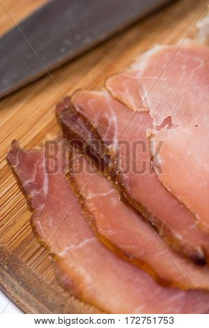 Flat Lay Sliced Smoked Sirloin On The Wooden Board With Copy Spa