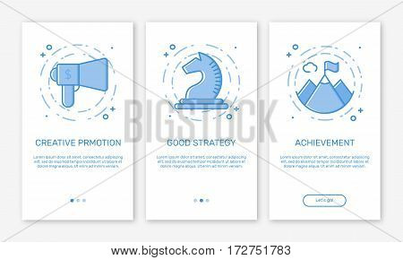 Vector Illustration of onboarding app screens concept business promotion and advertisement for mobile apps in line style. Blue interface UX, UI GUI screen template for smart phone or web site banners.