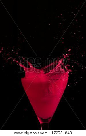 splashes of red color on the darkness