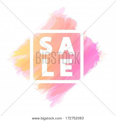 Sale banner for stocks such as black friday, promotion, special offer, advertisement, sale, hot price and discount poster with pink watercolor brush strokes shapes with frame. Vector Illustration