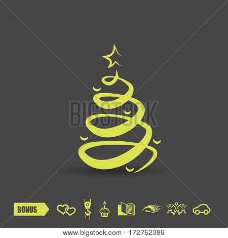 Pictograph of christmas tree. Vector concept illustration for design. Eps 10