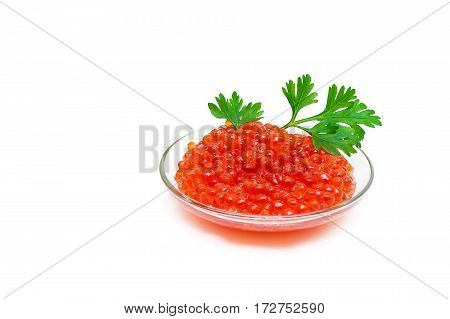 red salmon caviar isolated on white background. horizontal photo.