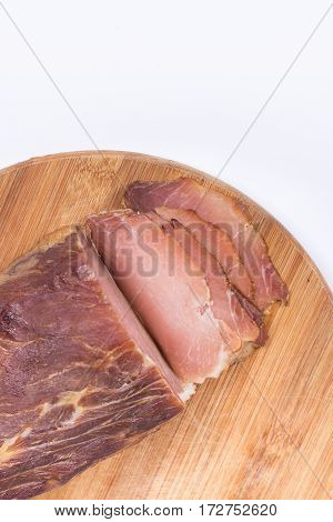 Flat Lay Copy Space Sliced Smoked Sirloin On The Wooden Board