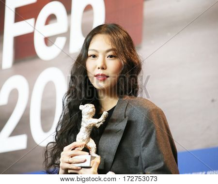 Kim Min-hee attend the award winners press conference during the 67th Film Festival Berlin at Grand Hyatt Hotel on February 18, 2017 in Berlin, Germany.