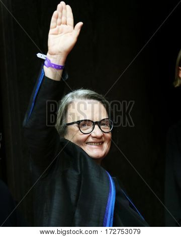 Agnieszka Holland, winner of the Silver Bear attends the award winners press conference during the 67th Film Festival Berlin at Grand Hyatt Hotel on February 18, 2017 in Berlin, Germany.