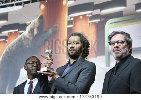 Oumar Sall, of the movie Felicite, which won the Silver Bear, attend the award winners press conference during the 67th Film Festival Berlin at Hyatt Hotel on February 18, 2017 in Berlin, Germany.