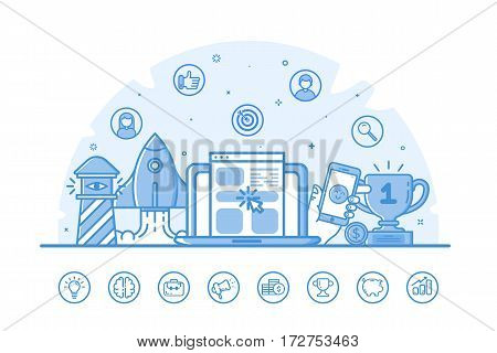 Vector illustration of website banner with blue icons in flat outline filled style. Design linear concept of seo, digital marketing, social media, online network for website. Line icon set.