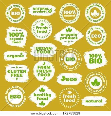 Natural product, healthy food, fresh food, organic product, vegan food, farm fresh food, gluten free, bio and eco label template watercolor shapes isolated on brown background. Vector Illustration