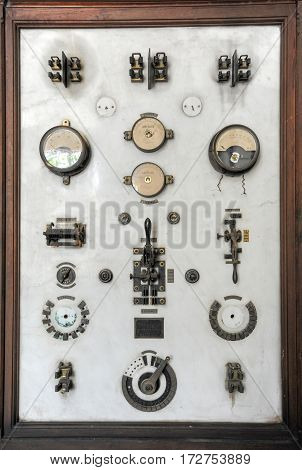 Camargue, France - 14 June 2013: Old electrical panel